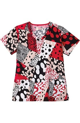Bio Women's V-Neck Geometric Print Scrub Top