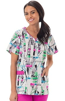 Clearance Bio Women's V-Neck Abstract Print Scrub Top