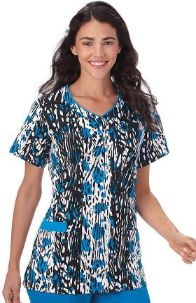 Bio Women's V-Neck Abstract Print Scrub Top