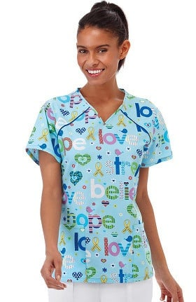 Bio Women's Sporty V-Neck Brain Cancer Awareness Print Scrub Top