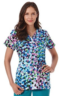 Bio Women's Y-Neck Abstract Print Scrub Top