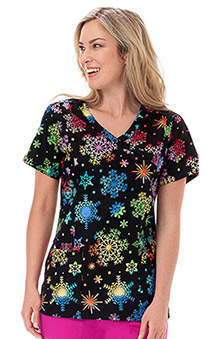 Clearance Bio Women's Bio Mock Wrap Snowflake Print Scrub Top
