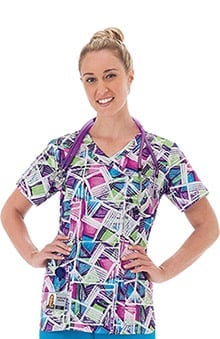 Clearance Bio Women's Mock Wrap Geometric Print Scrub Top