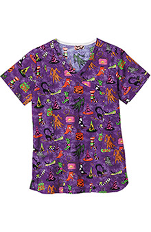 Clearance Bio Women's Bio Mock Wrap Halloween Print Top