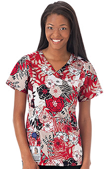 Bio Women's Mock Wrap Jungle Print Scrub Top