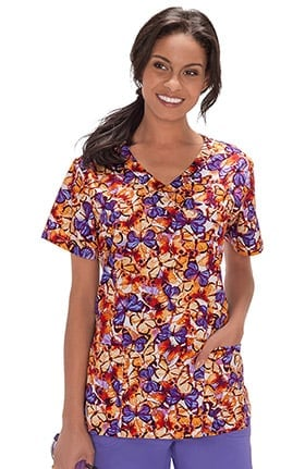Clearance Bio Women's Mock Wrap Butterfly Print Scrub Top