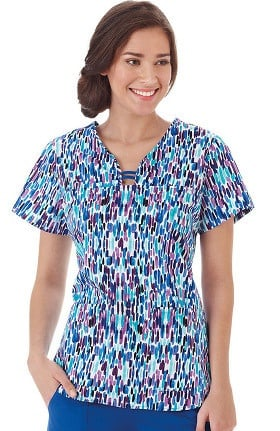 Clearance Bio Women's Open Round Neck Abstract Print Scrub Top