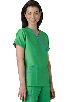 Clearance WS Gear by White Swan Women's Comfy Twill Contrast Trim Mock Wrap Solid Scrub Top
