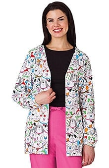 Clearance WS Gear by White Swan Women's Back Elastic Dog Print Cardigan Jacket