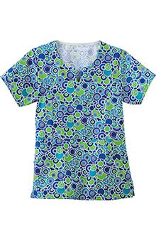 Fundamentals by White Swan Women's Princess Line Bubble Print Scrub Top