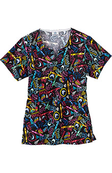 Clearance Fundamentals by White Swan Women's Princess Line Dental Print Scrub Top