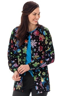 Clearance Bio Women's Warm Up Snowflake Print Scrub Jacket