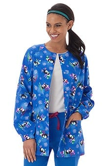 Bio Women's Warm Up Penguin Print Scrub Jacket
