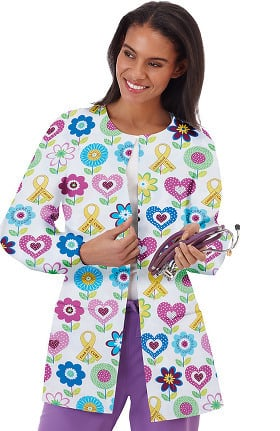 Bio Women's Snap Front Brain Cancer Awareness Print Scrub Jacket