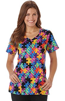Bio Women's Curved V-Neck Autism Awareness Print Scrub Top