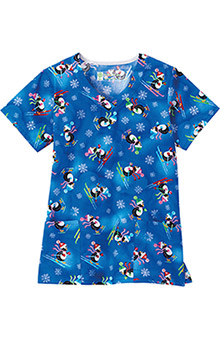 Bio Women's Overlap V-Neck Penguin Print Scrub Top