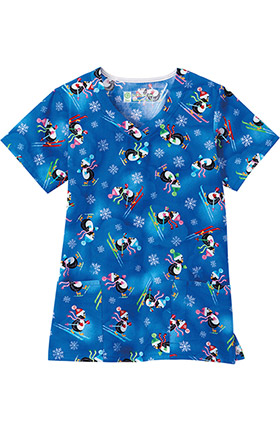 Clearance Bio Women's Overlap V-Neck Penguin Print Scrub Top