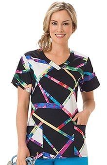 Clearance Bio Women's Overlap V-Neck Abstract Print Scrub Top