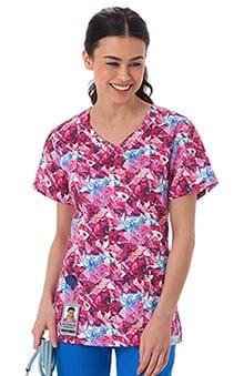 Bio Women's Overlap V-Neck Abstract Print Scrub Top