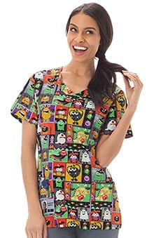 Bio Women's Overlap V-Neck Halloween Print Scrub Top