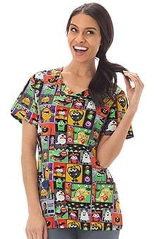 Clearance Bio Women's Overlap V-Neck Halloween Print Scrub Top