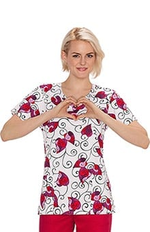 Bio Women's Overlap V-Neck Heart Print Scrub Top