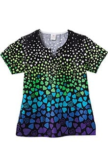 Trust Your Journey by White Swan Women's Reverse Border Heart Print Scrub Top