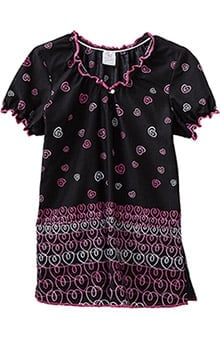 Trust Your Journey by White Swan Women's Elasticized Jewel Neck Heart Print Scrub Top