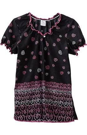 Clearance Trust Your Journey by White Swan Women's Elasticized Jewel Neck Heart Print Scrub Top