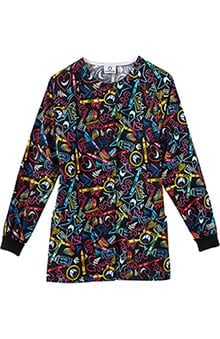 Clearance Fundamentals by White Swan Women's Snap Front Dental Print Scrub Jacket