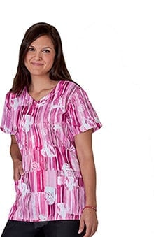 Trust Your Journey by White Swan Women's V-Neck BCA Print Scrub Top