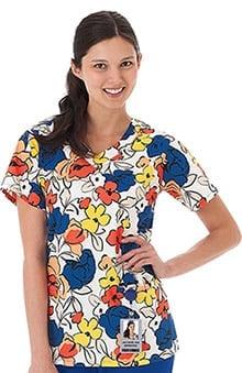 Bio Women's Women's V-Neck Floral Print Scrub Top