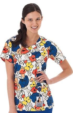 Clearance Bio Women's Women's V-Neck Floral Print Scrub Top