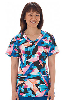 Clearance Bio Womens V-Neck Geometric Print Scrub Top