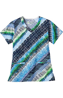 Bio Womens V-Neck Stripe Print Scrub Top