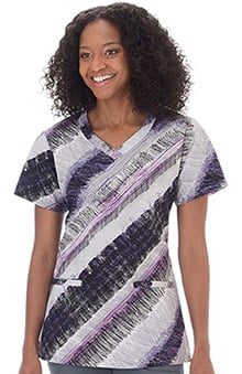 Clearance Bio Womens V-Neck Stripe Print Scrub Top