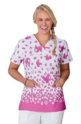 Clearance Trust Your Journey by White Swan Women's Mock Wrap Autism Awareness Print Scrub Top