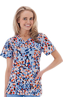 Clearance Bio Womens Mock Wrap Dot Print Scrub Top