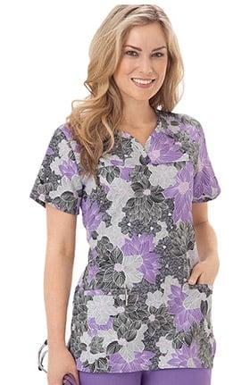 Clearance Bio Women's Shaped Neckline Floral Print Scrub Top