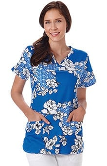 Bio Women's Y-Neck Floral Print Scrub Top