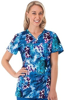 Bio Women's Shaped Neckline Animal Print Scrub Top