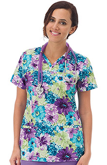 Clearance Bio Women's Shaped Neckline Floral Print Scrub Top