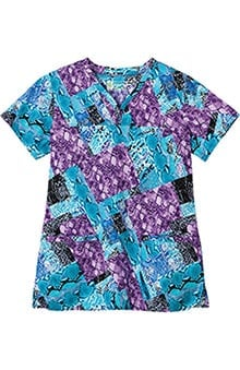 Bio Womens Shaped Neckline Animal Print Scrub Top