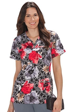 Bio Women's Shaped Neckline Floral Print Scrub Top