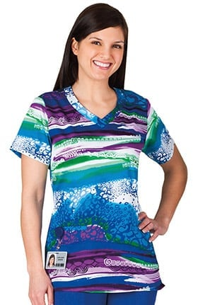 Clearance Trust Your Journey by White Swan Women's Overlap V-Neck Abstract Print Scrub Top