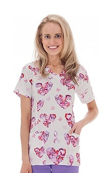 Clearance Trust Your Journey by White Swan Womens Mock Wrap Bca Print Scrub Top