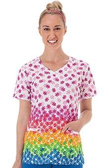 Bio Women's Overlap V-Neck Puzzle Print Scrub Top