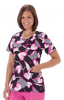 Trust Your Journey by White Swan Womens V-Neck Bca Print Scrub Top
