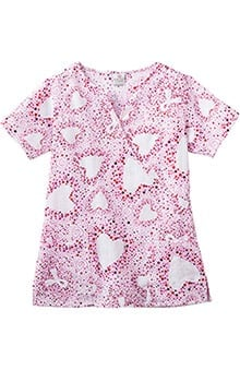 pink ribbon scrubs: Trust Your Journey by White Swan Women's Mock Wrap BCA Print Scrub Top