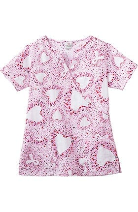 Clearance Trust Your Journey by White Swan Women's Mock Wrap BCA Print Scrub Top